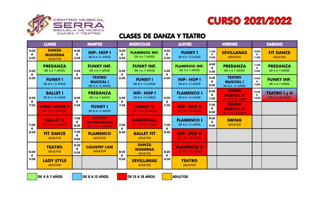 thumbnail of HORARIOS CLASES DE DANZA TEATRO 2021-2022