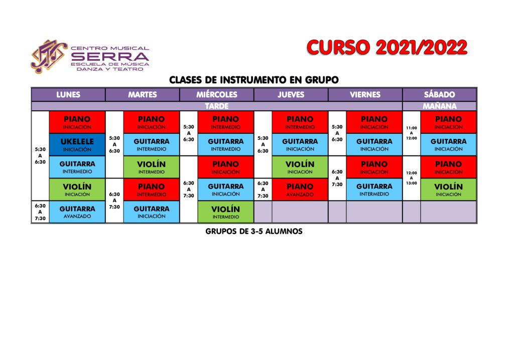 thumbnail of HORARIOS CLASES DE INSTRUMENTO EN GRUPO 2021-2022